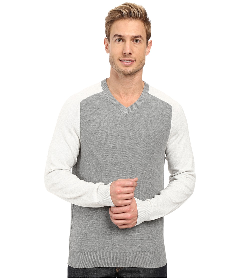Perry Ellis - Color Block V-Neck Sweater (Smoke Heather) Men's Sweater