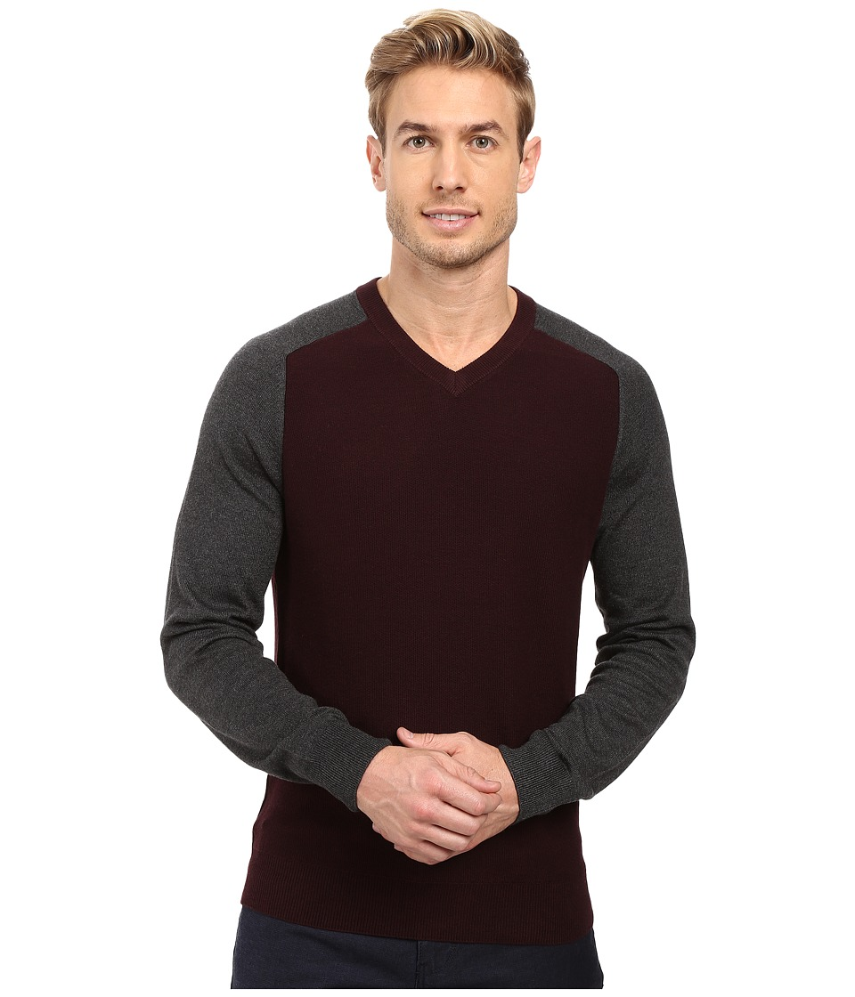 Perry Ellis - Color Block V-Neck Sweater (Port) Men's Sweater