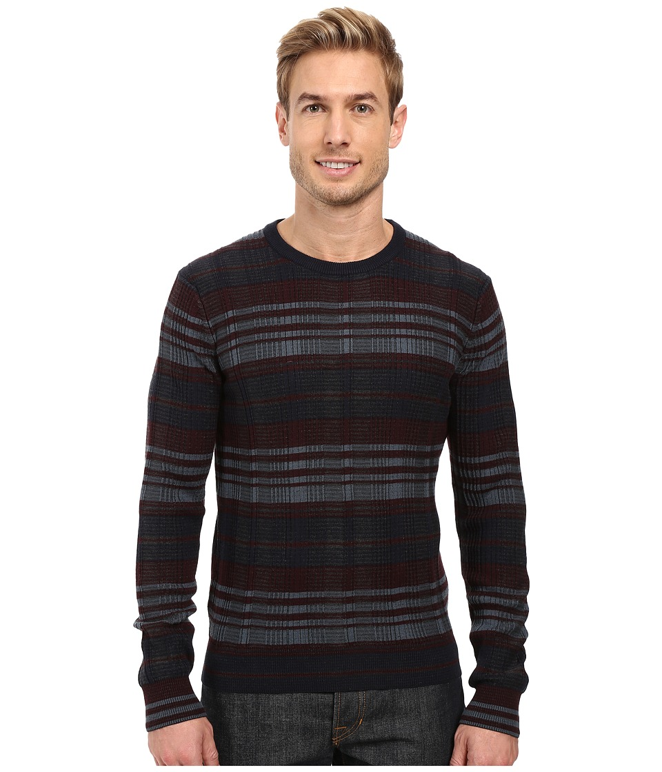 Perry Ellis - Plaid Crew Neck Sweater (Charcoal Heather) Men's Sweater