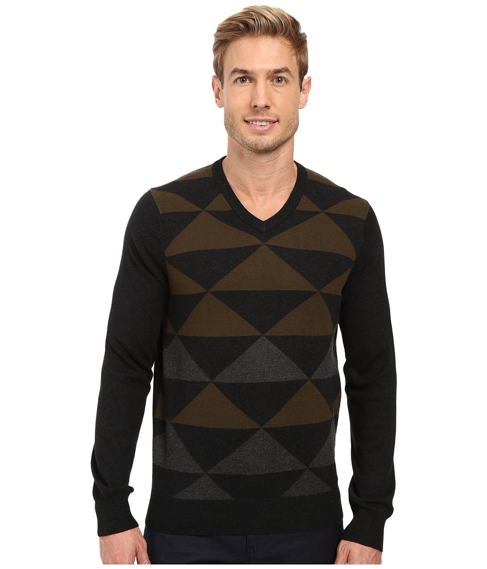 Perry Ellis - Diamond Color Block V-Neck Sweater (Black Heather) Men's Sweater