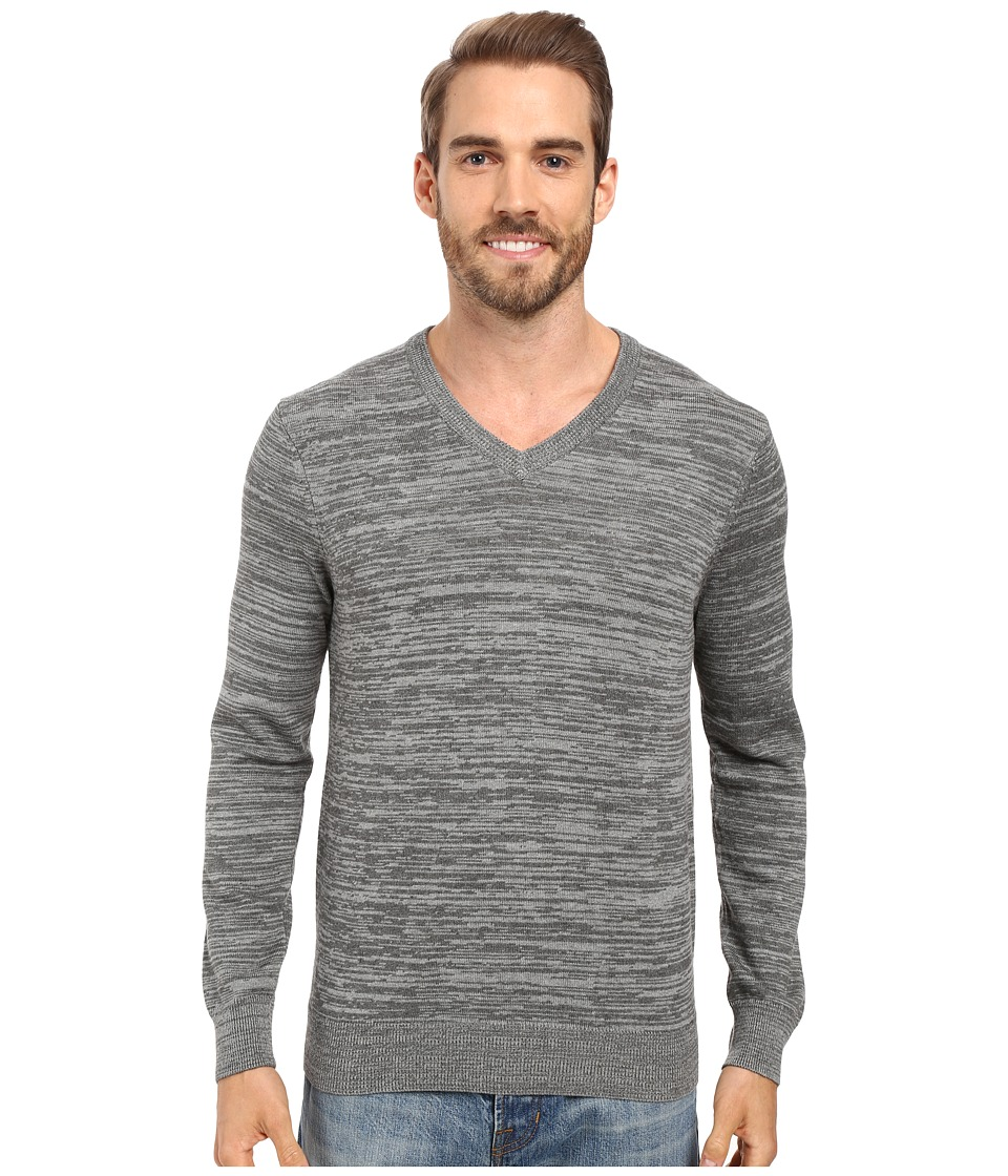 Perry Ellis - Stripe V-Neck Sweater (Heather Grey) Men's Sweater