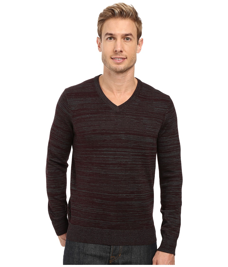 Perry Ellis - Stripe V-Neck Sweater (Port) Men's Sweater