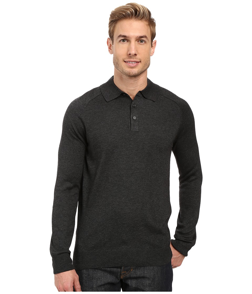 Perry Ellis - Merino Three-Button Long Sleeve Polo (Charcoal Heather) Men's Long Sleeve Button Up