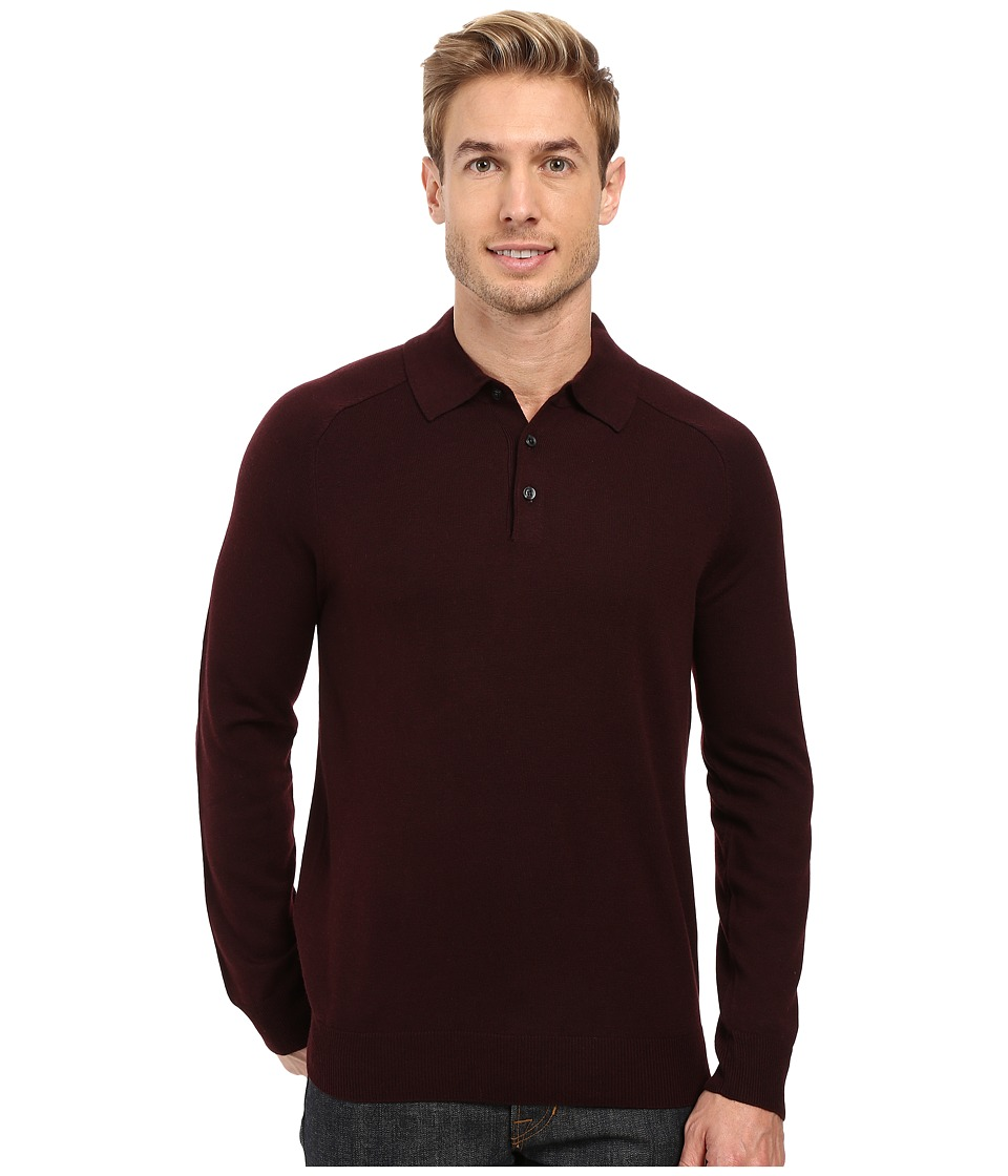 Perry Ellis - Merino Three-Button Long Sleeve Polo (Port) Men's Long Sleeve Button Up