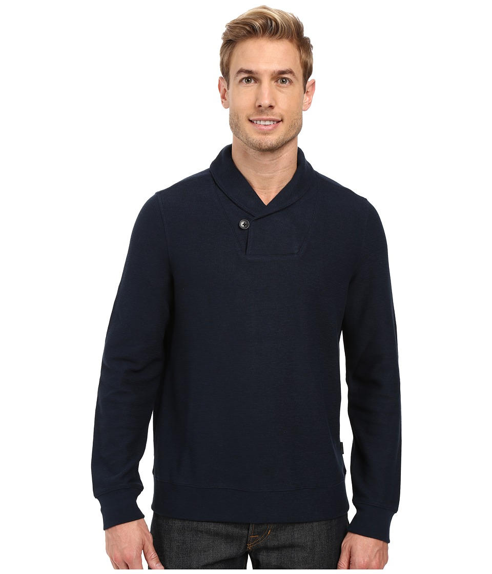 Perry Ellis - Pullover Shawl Collar Knit (Dark Sapphire) Men's Clothing