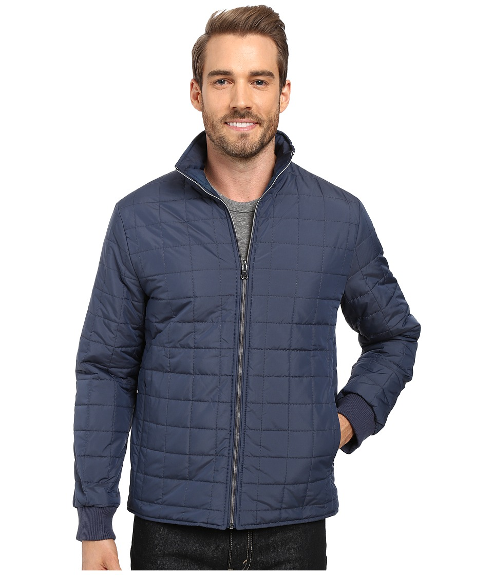 Perry Ellis - Reversible Quilted Puffer Jacket (Dark Sapphire) Men's Coat