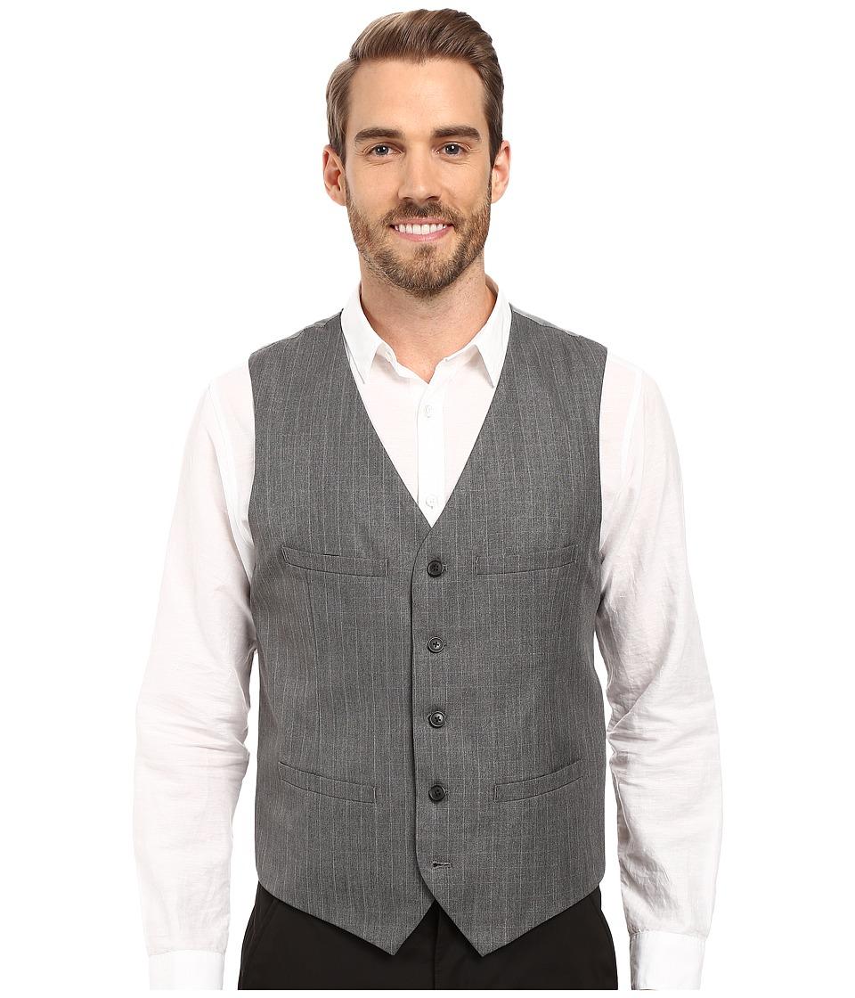 Perry Ellis - Mini-Check Twill Suit Vest (Charcoal) Men's Vest