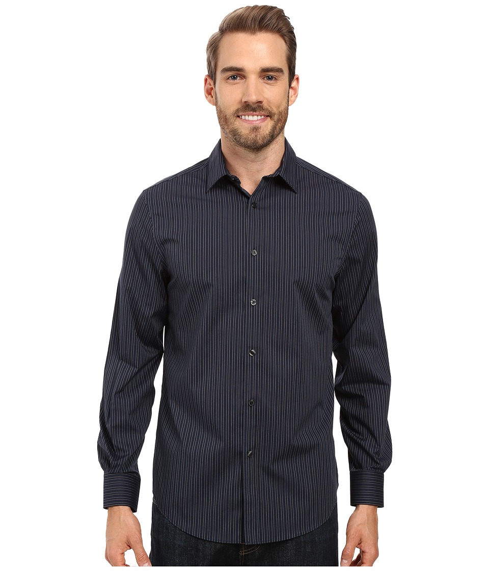 Perry Ellis - Vertical Barrel Stripe Shirt (Dark Sapphire) Men's Clothing