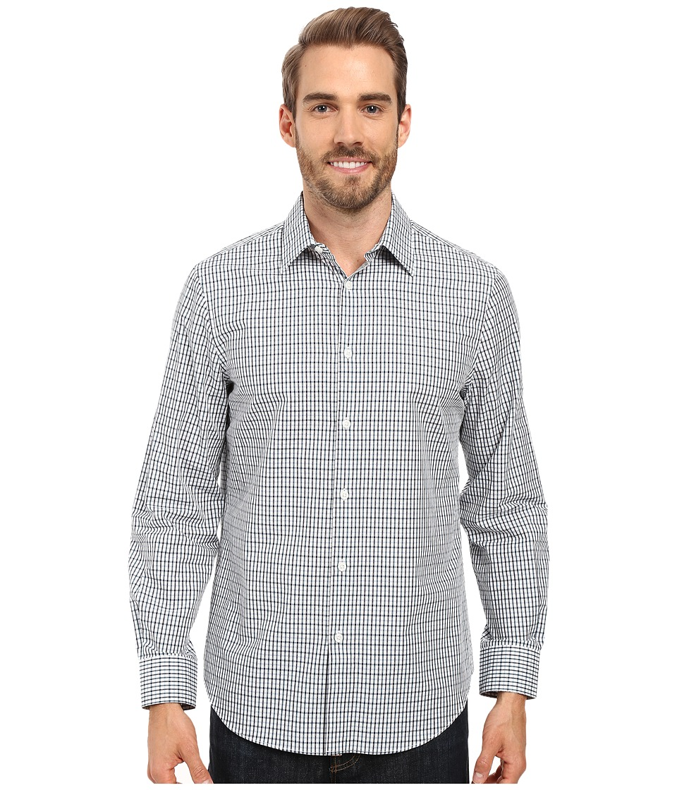 Perry Ellis - Dobby Plaid Shirt (Blue Pond) Men's Clothing