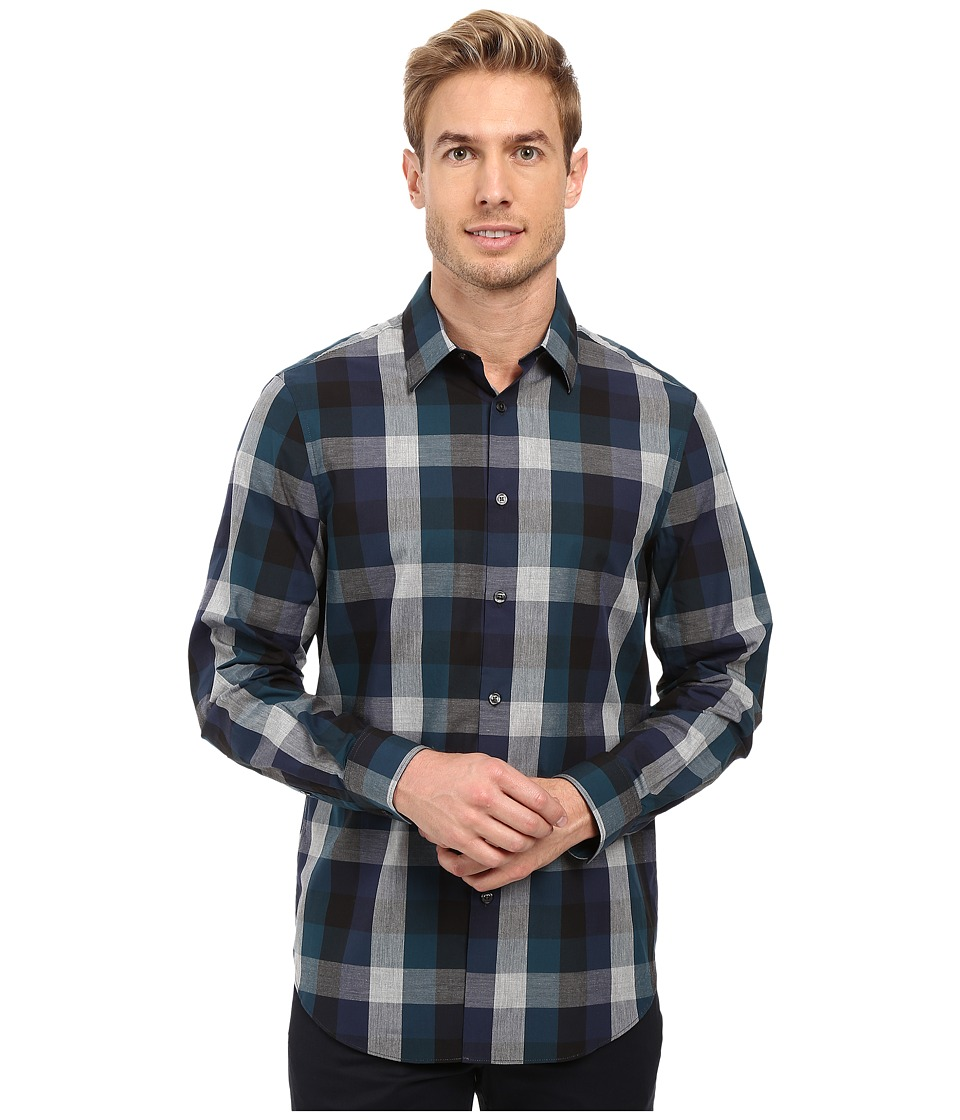 Perry Ellis - Exploded Plaid Shirt (Black) Men's Clothing