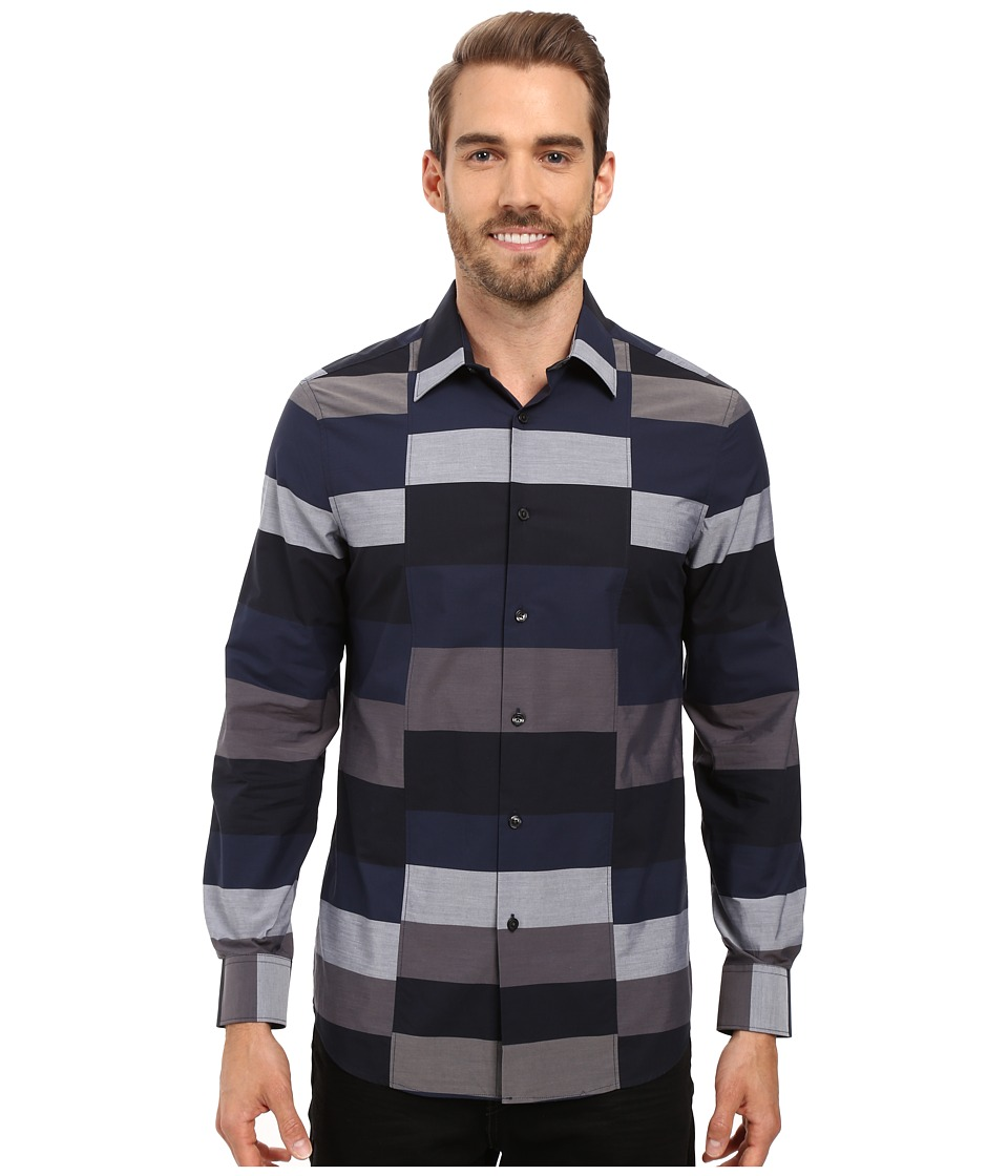 Perry Ellis - Slim Block Stripe Shirt (Ink) Men's Clothing