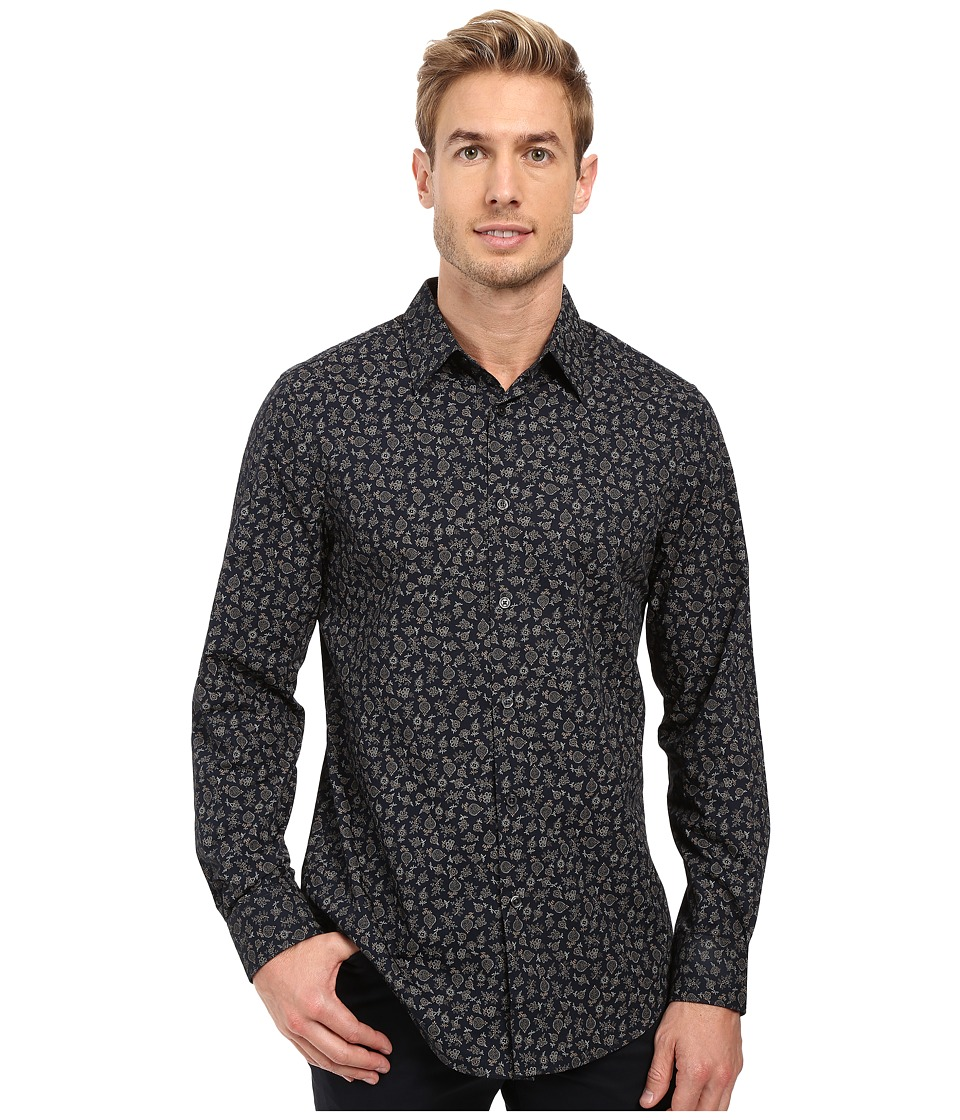 Perry Ellis - Regular Fit Printed Shirt (Dark Sapphire) Men's Clothing