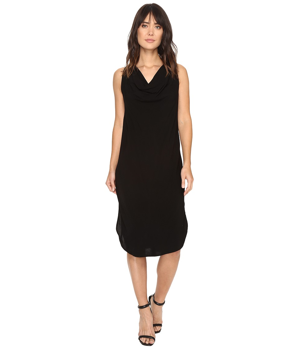 Michael Stars - Modern Rayon Draped Dress w/ Back Tie (Black) Women's Dress