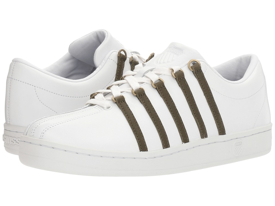 K-Swiss - The Classic (White/Dark Olive) Men's Tennis Shoes