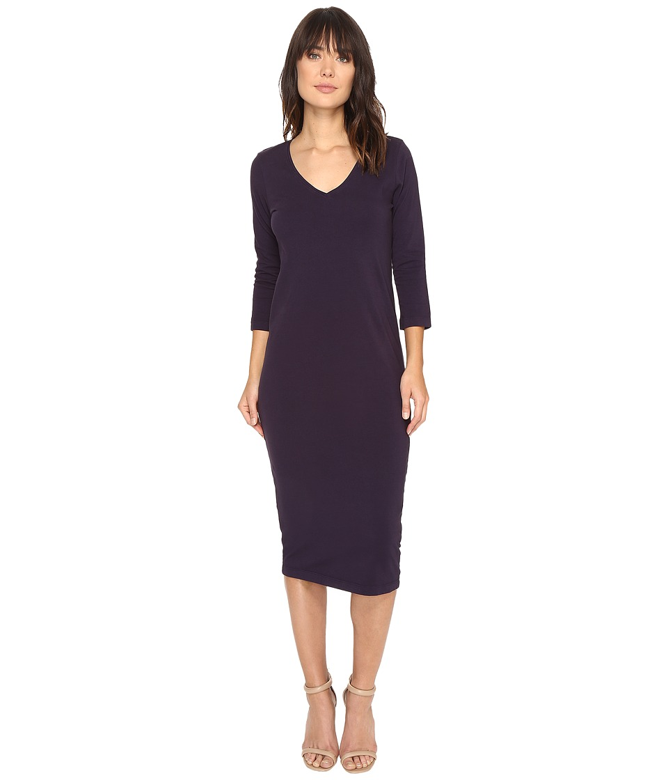Michael Stars Cotton Lycra 3/4 Sleeve V-Neck Midi Dress (Dark Iris) Women