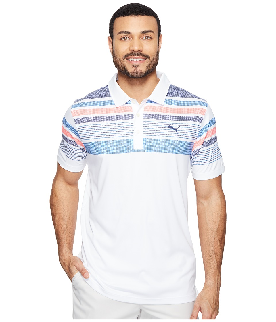 PUMA Golf - Jersey Stripe Polo (Bright White/Bright Plasma) Men's Short Sleeve Knit