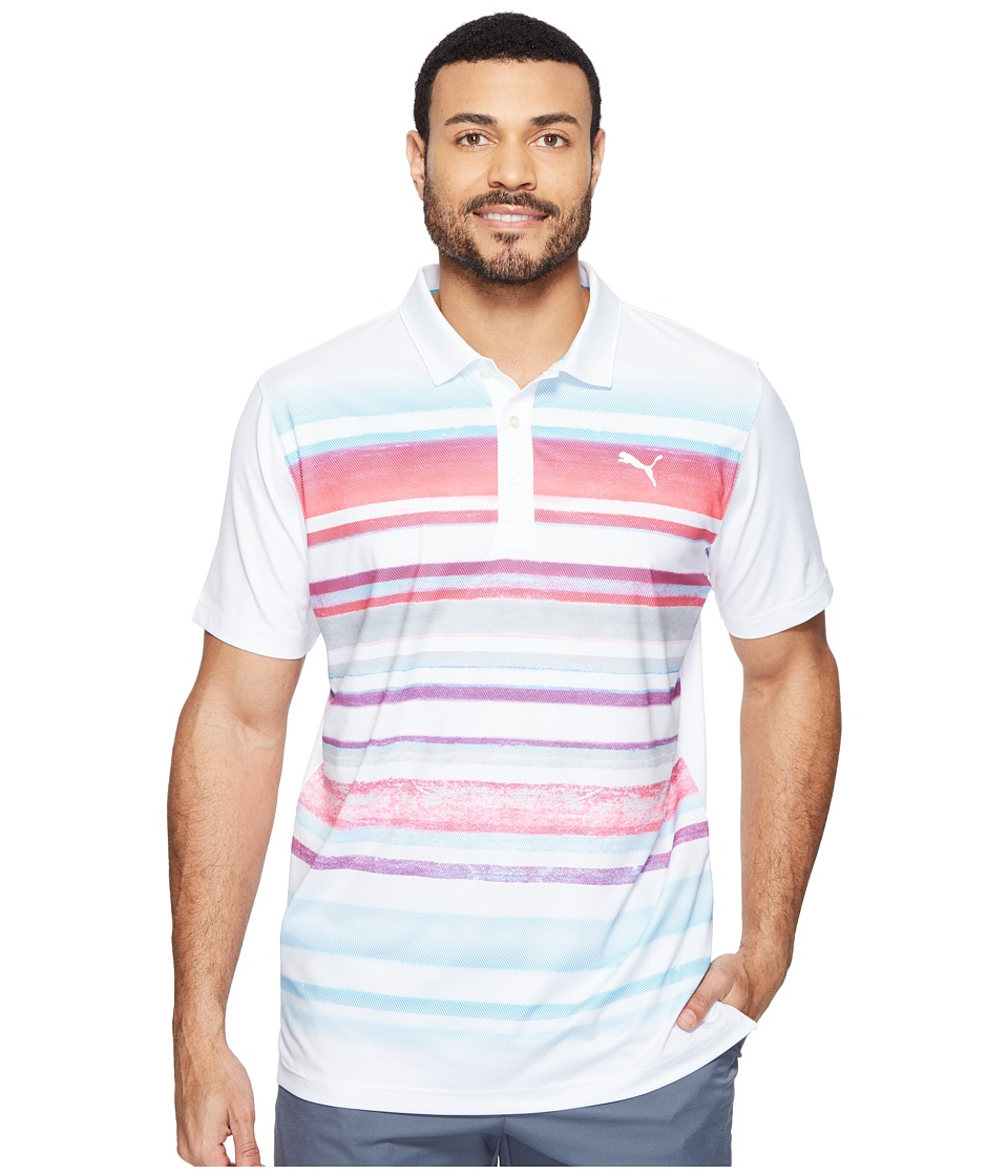 PUMA Golf - Washed Stripe Polo PWRCOOL (Bright White/Bright Plasma) Men's Short Sleeve Knit