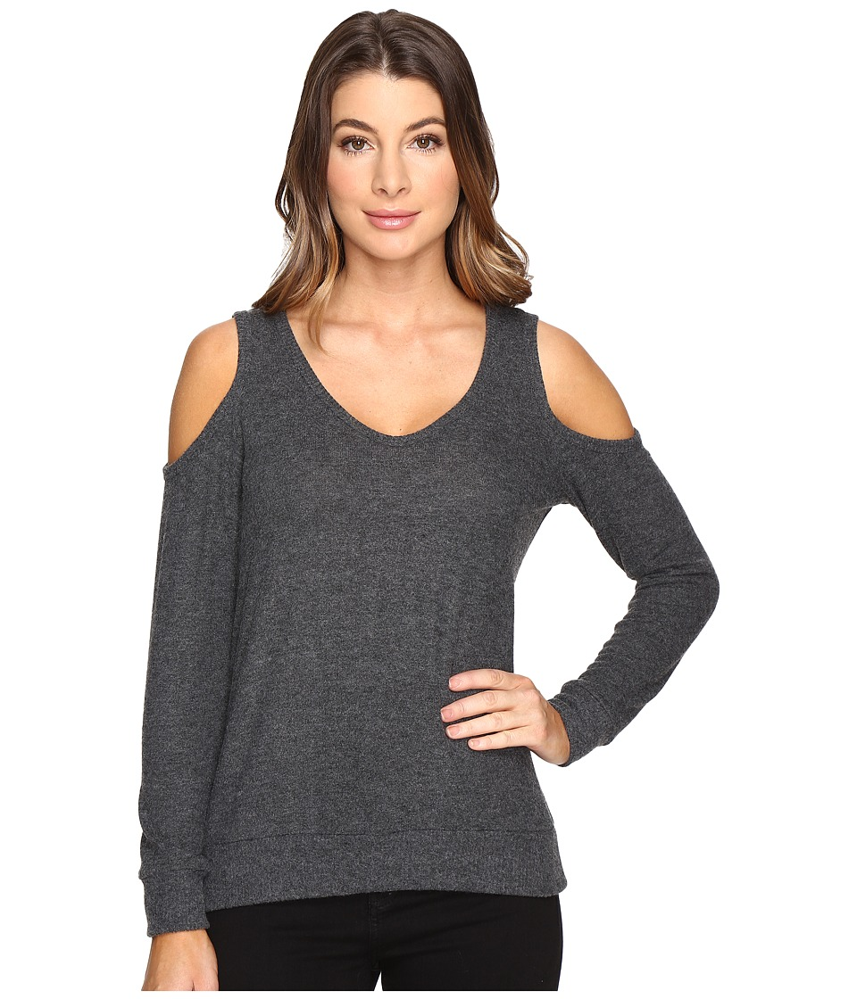 Michael Stars - Super Soft Madison Brushed Jersey Cold Shoulder (Charcoal) Women's Clothing