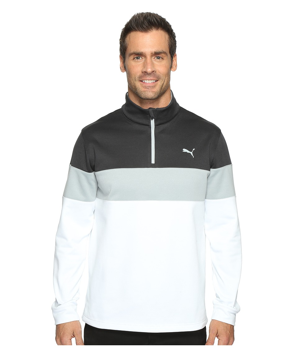 PUMA Golf - PWRWarm 1/4 Zip Popover (Bright White/Dark Gray Heather) Men's Sweatshirt