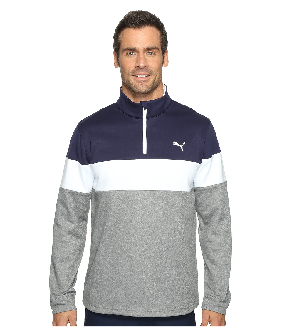 PUMA Golf - PWRWarm 1/4 Zip Popover (Medium Gray Heather/Peacoat) Men's Sweatshirt