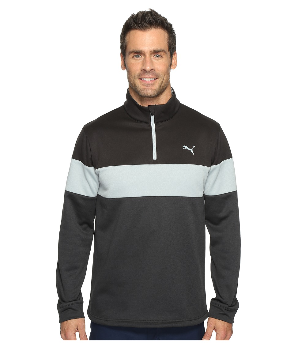 PUMA Golf - PWRWarm 1/4 Zip Popover (Dark Gray Heather/Puma Black) Men's Sweatshirt