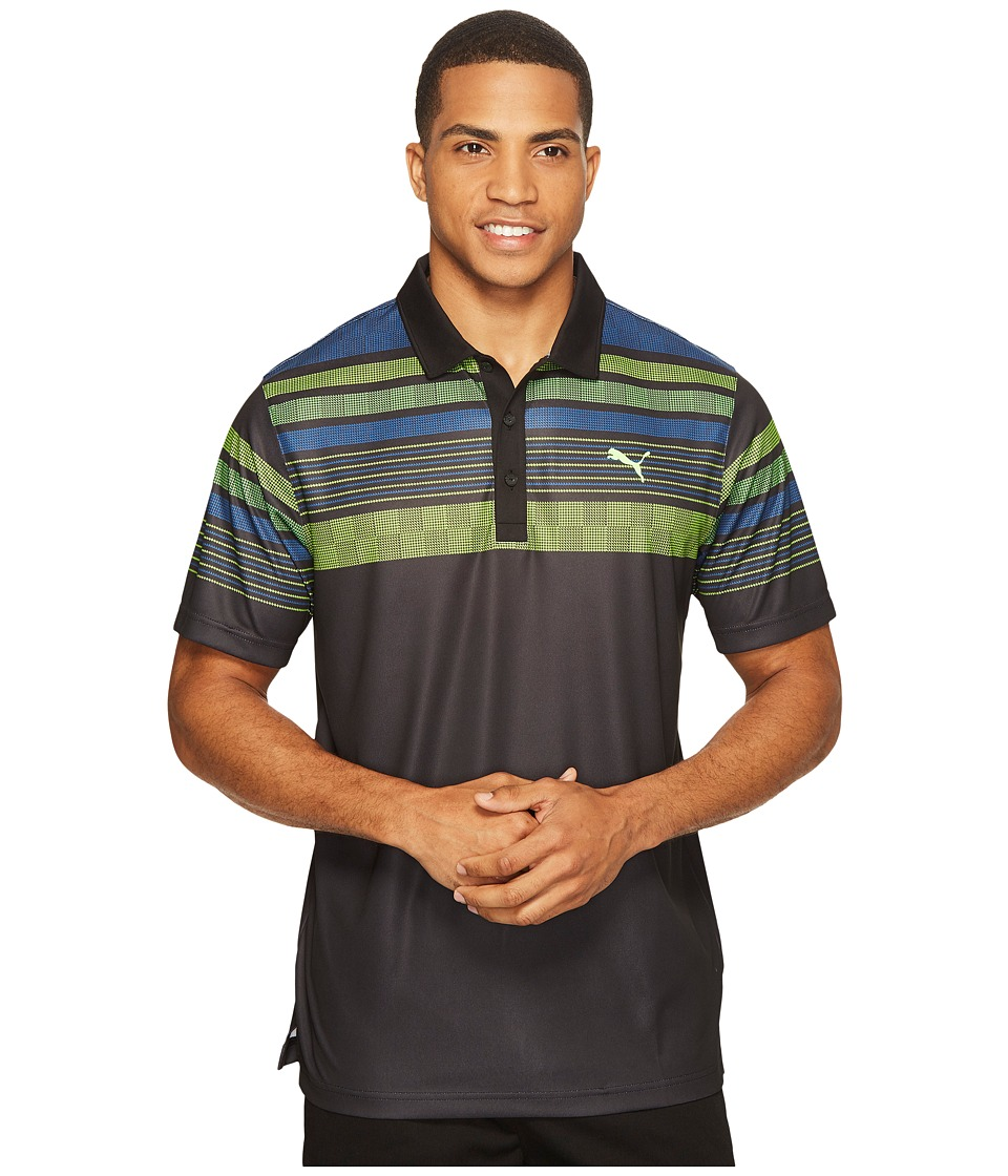 PUMA Golf - Jersey Stripe Polo (PUMA Black) Men's Short Sleeve Knit