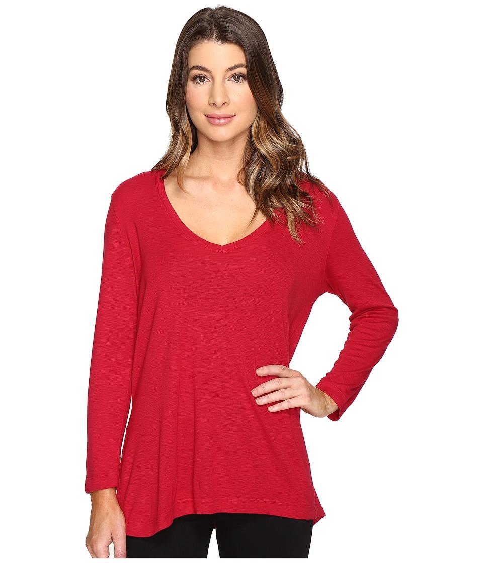 Michael Stars - Slub Long Sleeve V-Neck w/ Side Slit (Cajun) Women's Clothing