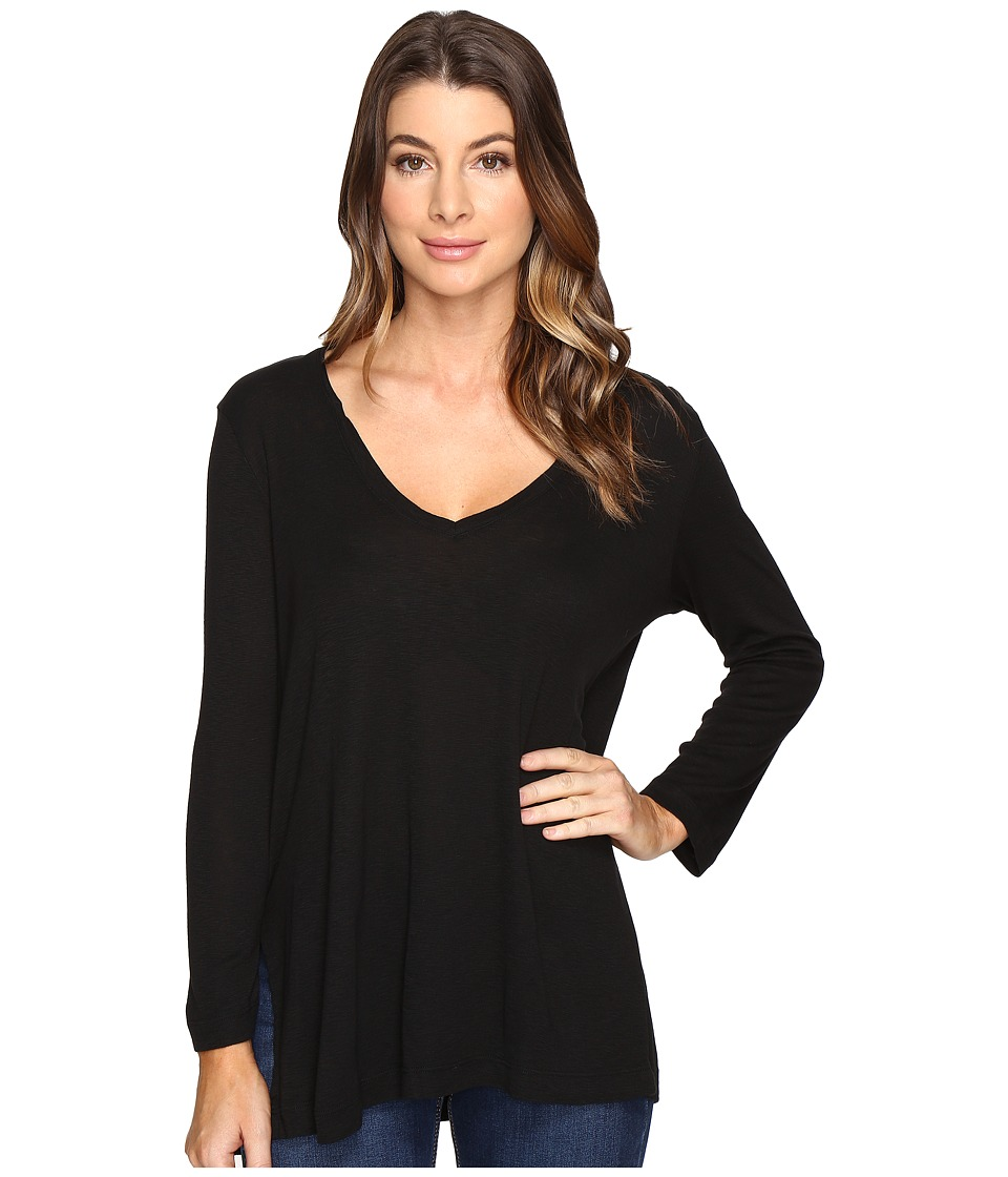 Michael Stars - Slub Long Sleeve V-Neck w/ Side Slit (Black) Women's Clothing