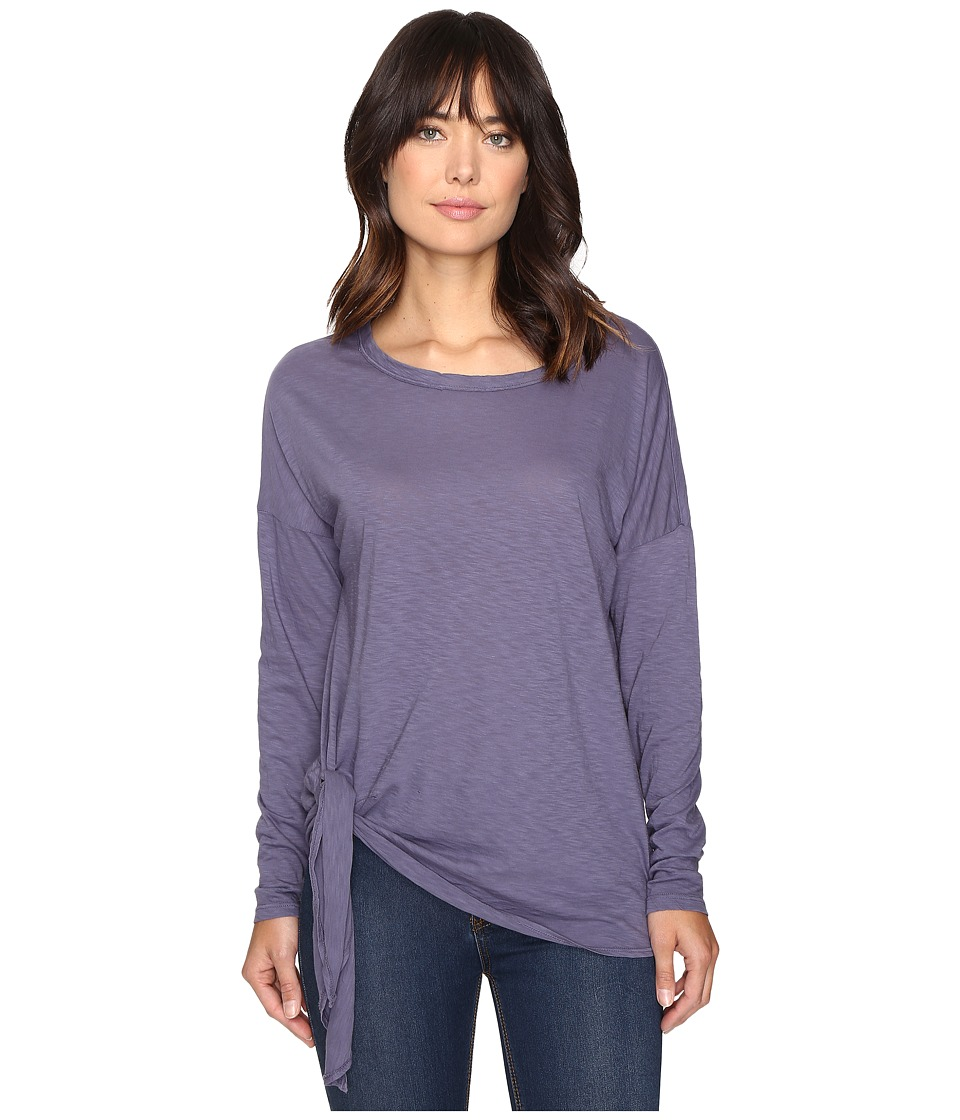 Michael Stars Supima Cotton Slub Long Sleeve Tie Up Tee (Dark Slate) Women