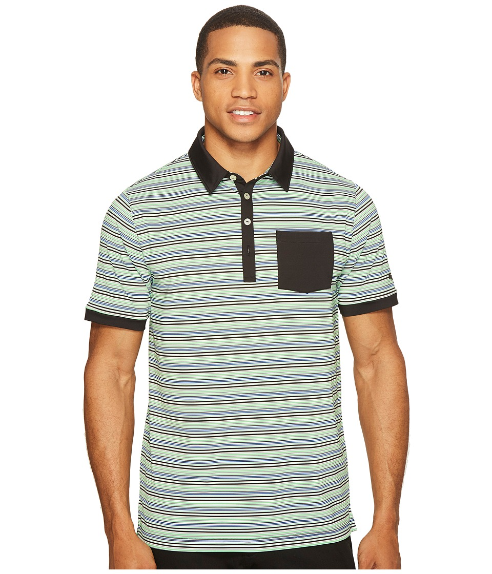 PUMA Golf - Tailored Pocket Stripe Polo (PUMA Black) Men's Short Sleeve Knit