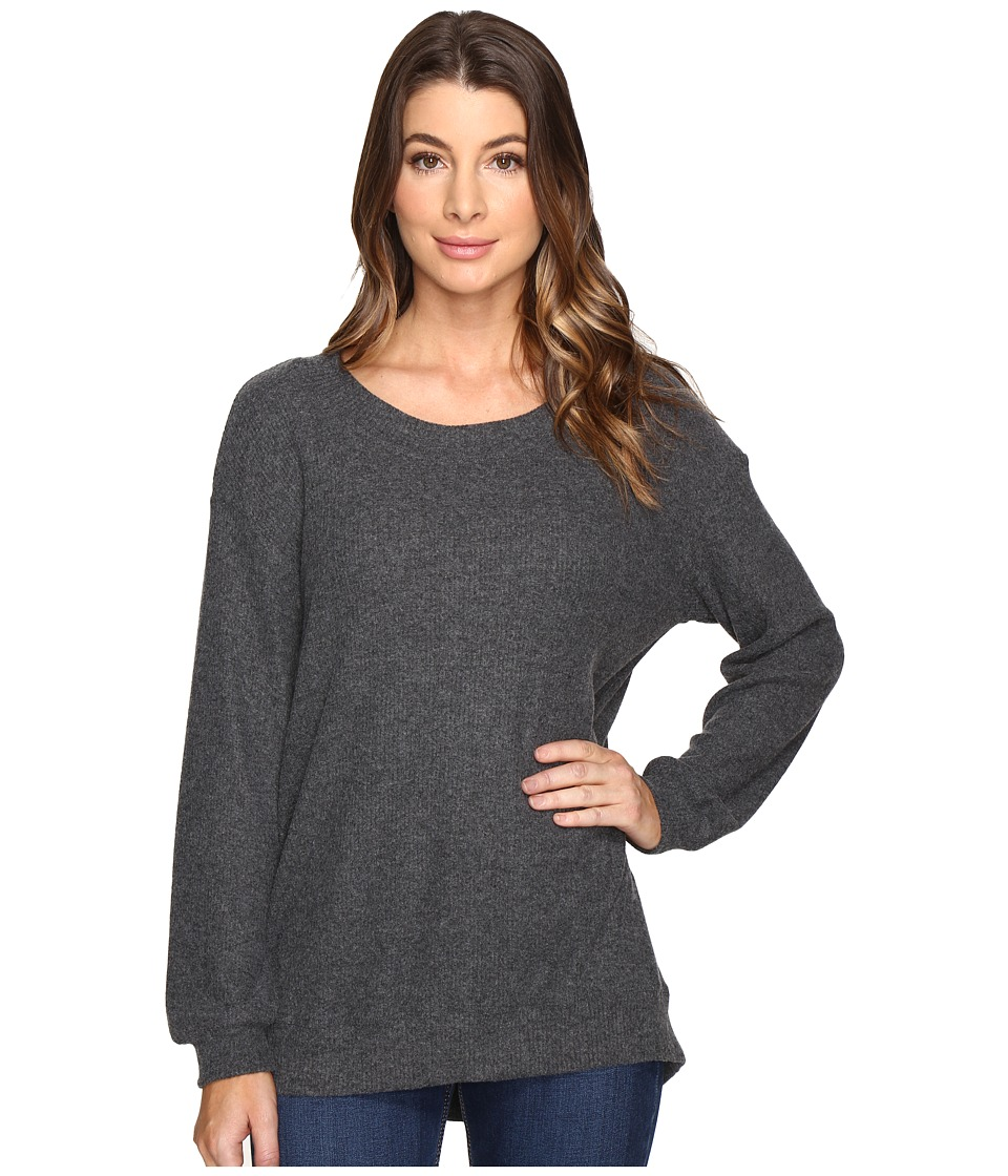 Michael Stars - Super Soft Madison Rib Oversized Sweatshirt (Charcoal) Women's Sweatshirt