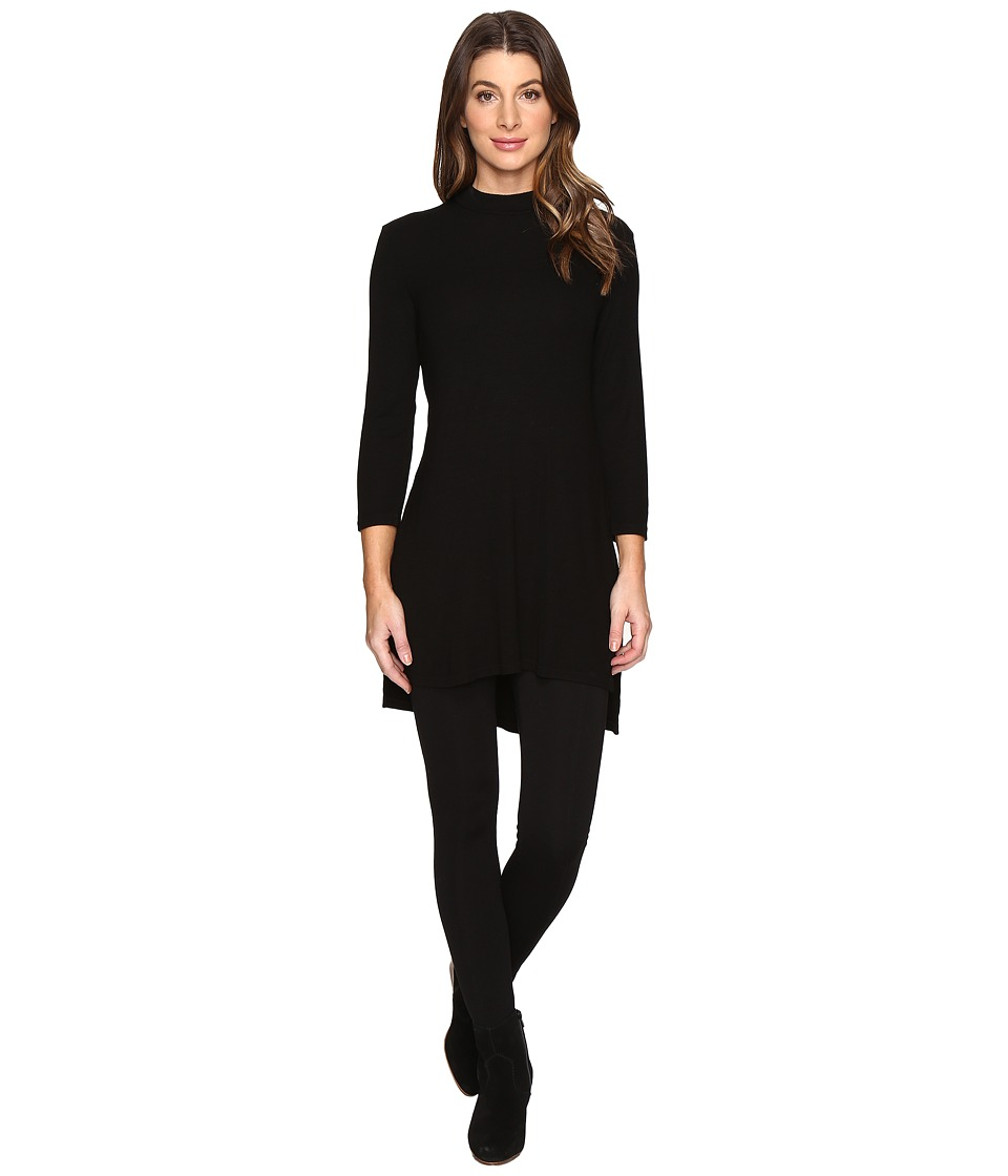 Michael Stars - 2X1 Rib Mock Neck Tunic w/ Side Slits (Black) Women's Blouse
