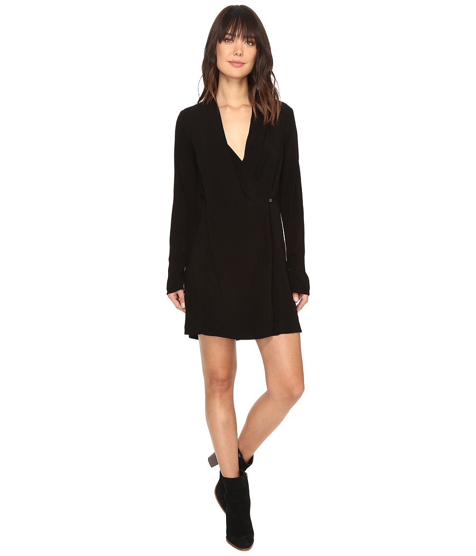Michael Stars Modern Rayon Cross Front Dress/Jacket (Black) Women