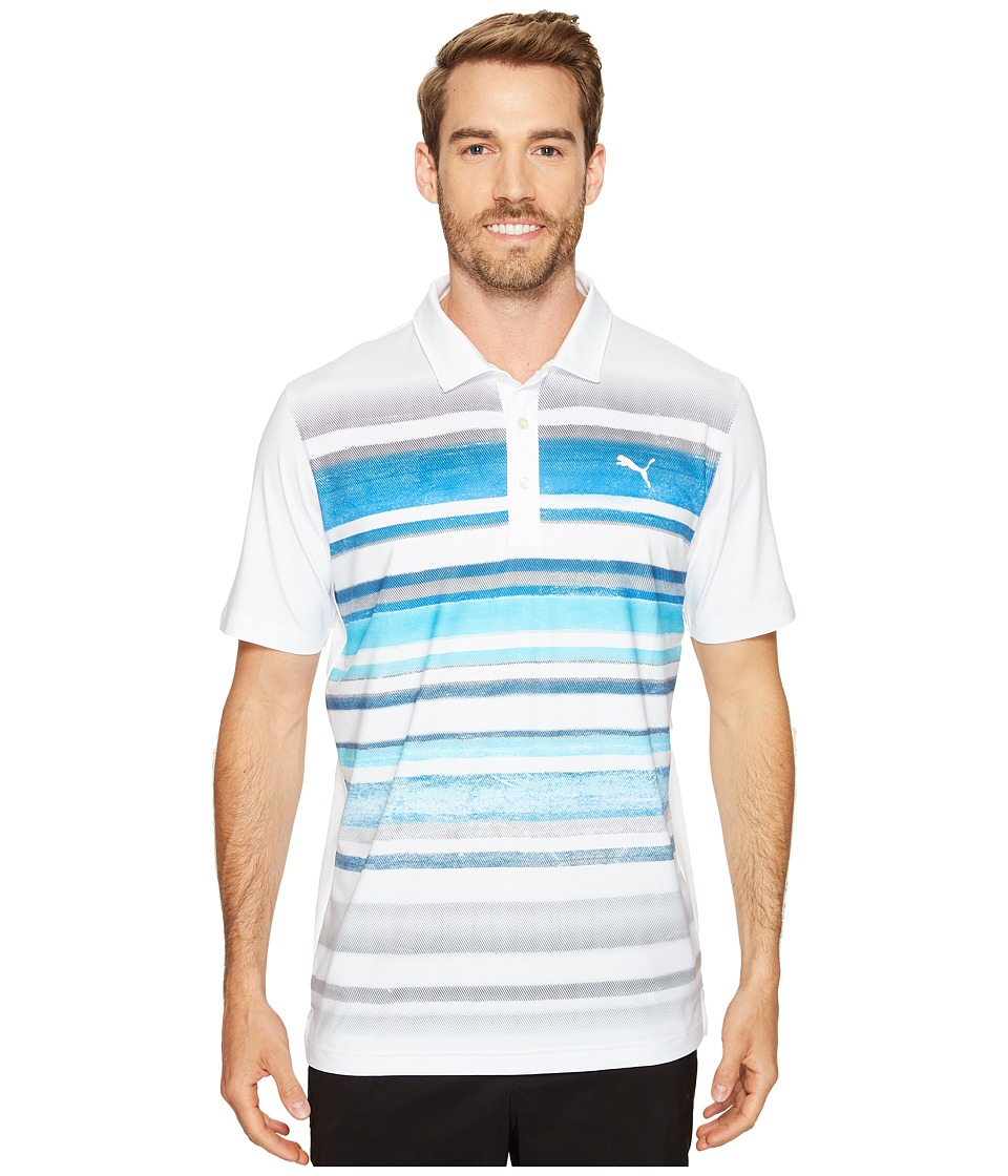 PUMA Golf - Washed Stripe Polo PWRCOOL (Bright White/True Blue) Men's Short Sleeve Knit
