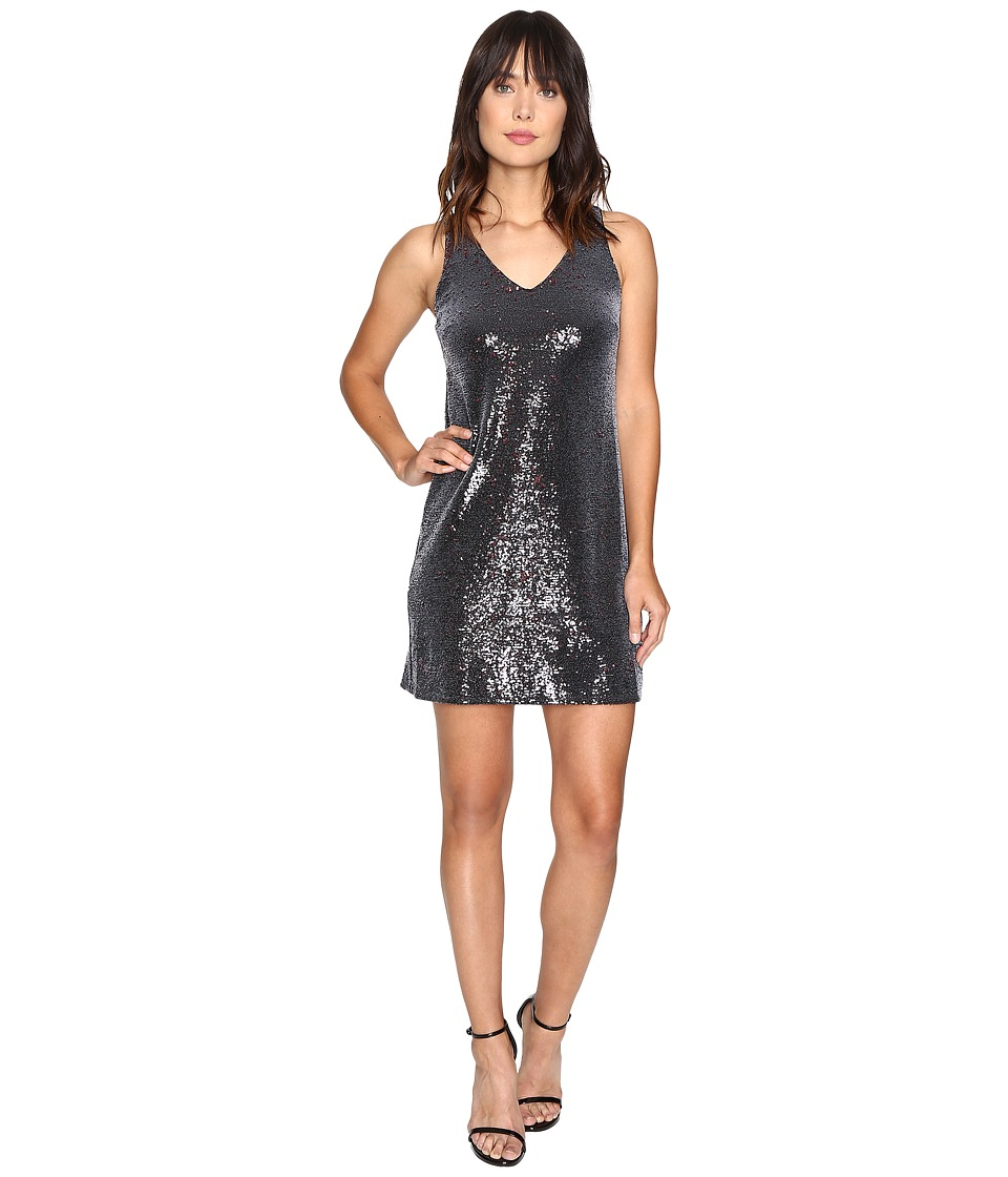 Michael Stars - Sequin Sleeveless Mini Dress (Black/Pinot) Women's Dress