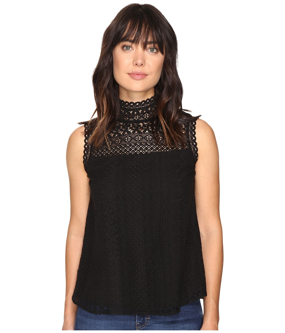 Michael Stars - Lace Victorian Shell (Black) Women's Clothing