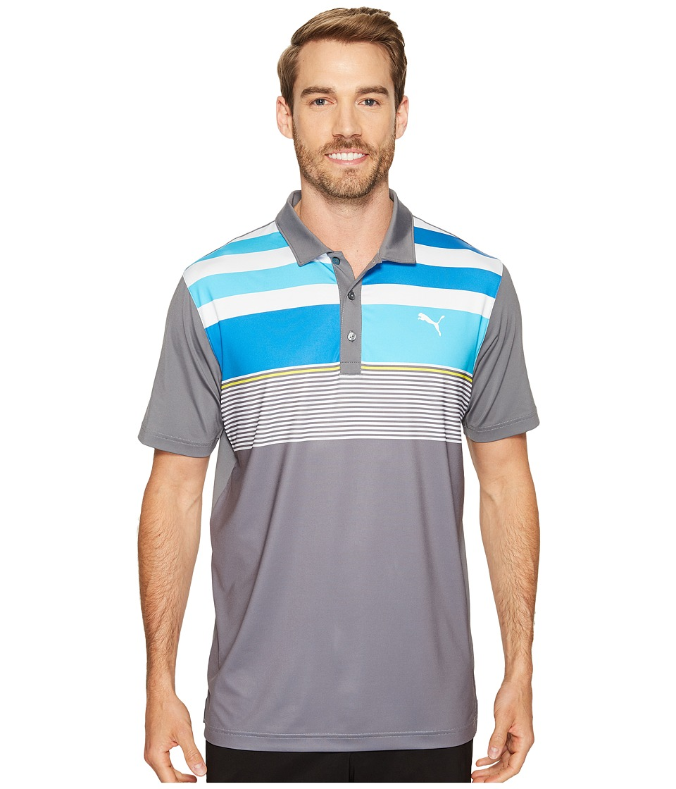 PUMA Golf - Road Map Asymmetrical Polo (Quiet Shade) Men's Short Sleeve Knit