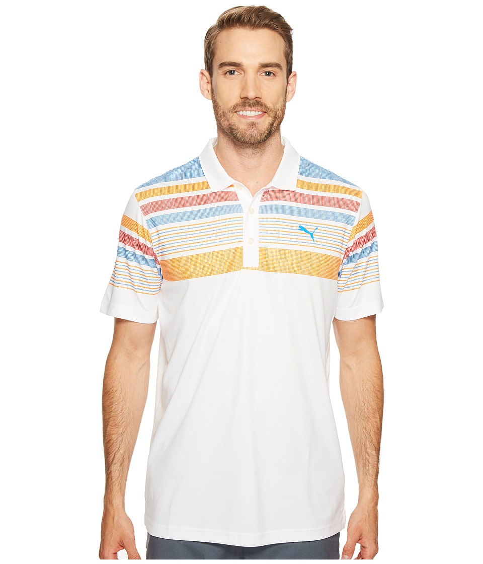 PUMA Golf - Jersey Stripe Polo (Bright White/Vibrant Orange) Men's Short Sleeve Knit