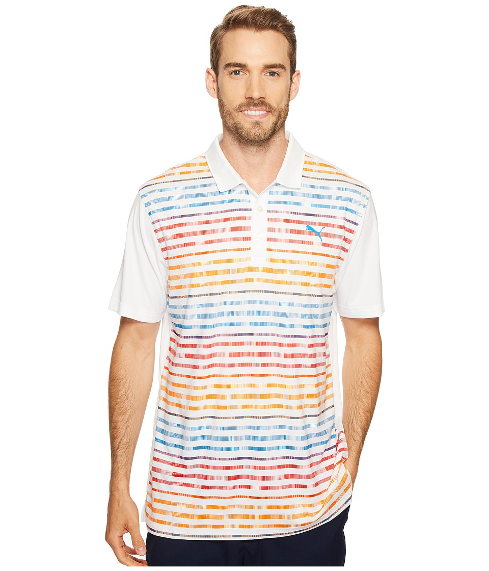 PUMA Golf - Road Map Polo (Bright White/High Risk Red) Men's Short Sleeve Knit