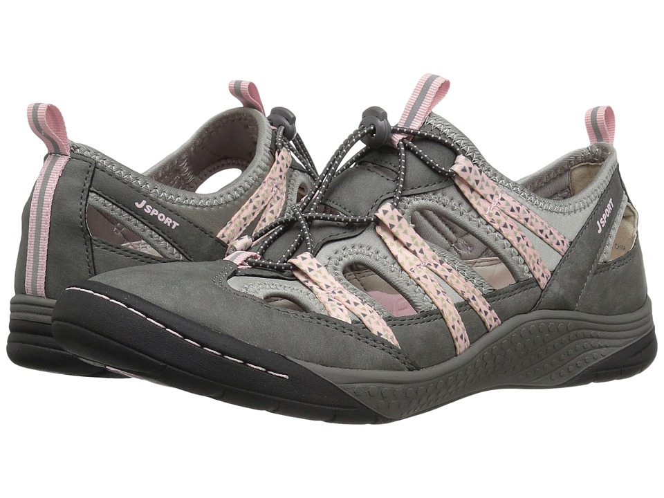 JBU - Hibiscus (Grey/Pastel Pink Brushed Microbuck/Neoprene) Women's Shoes