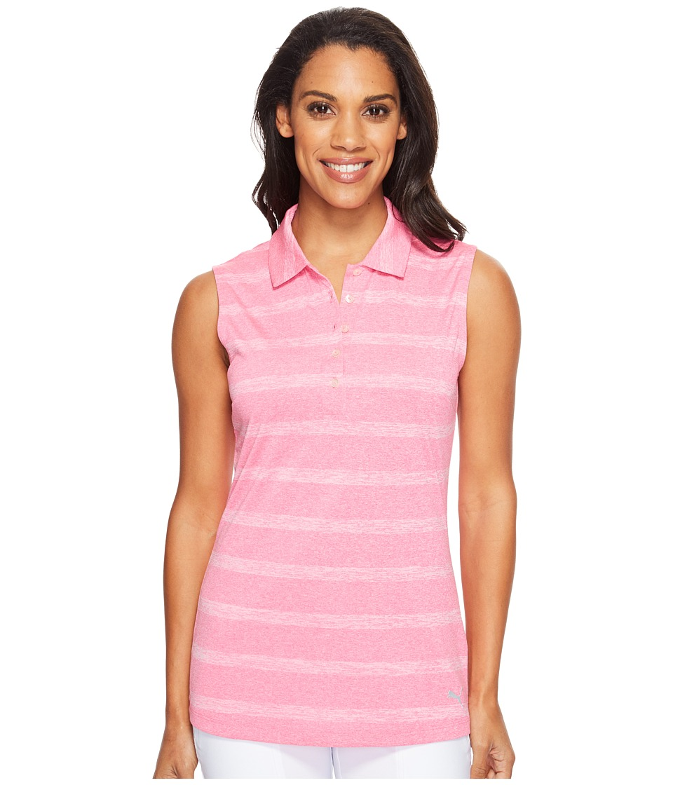 PUMA Golf - Pounce Stripe Sleeveless Polo Cresting (Shocking Pink) Women's Short Sleeve Knit