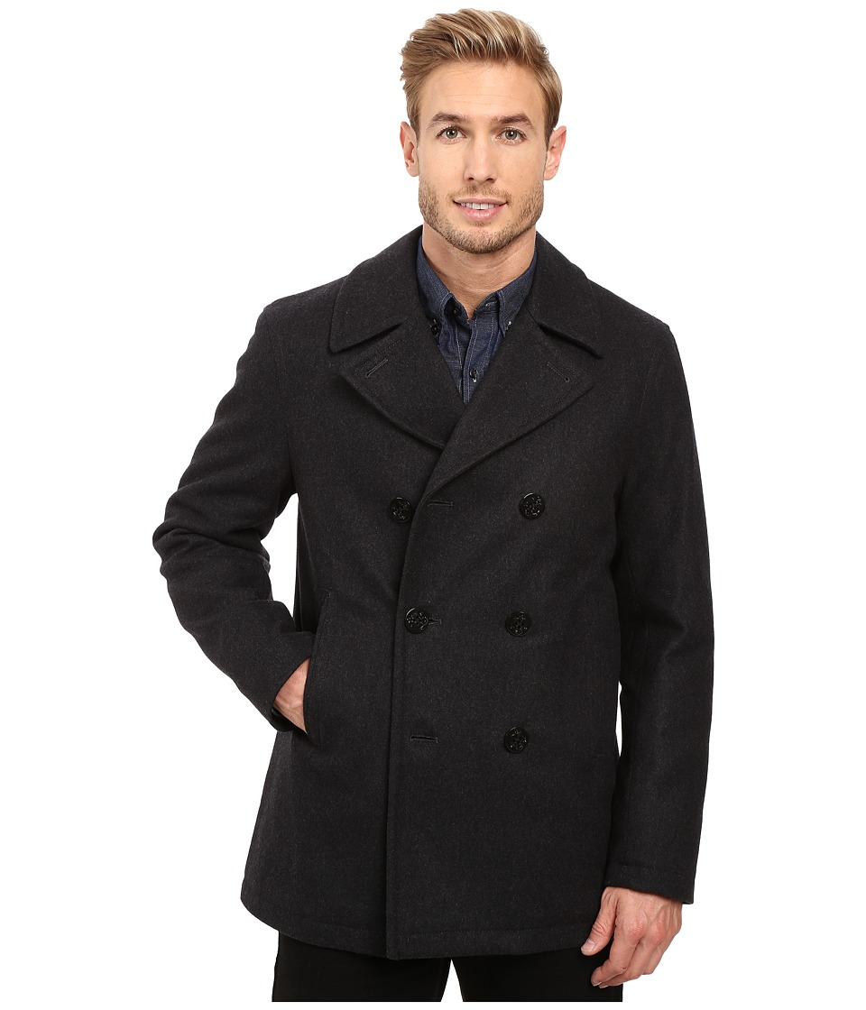 Nautica - Wool Melton Peacoat (Charcoal) Men's Coat
