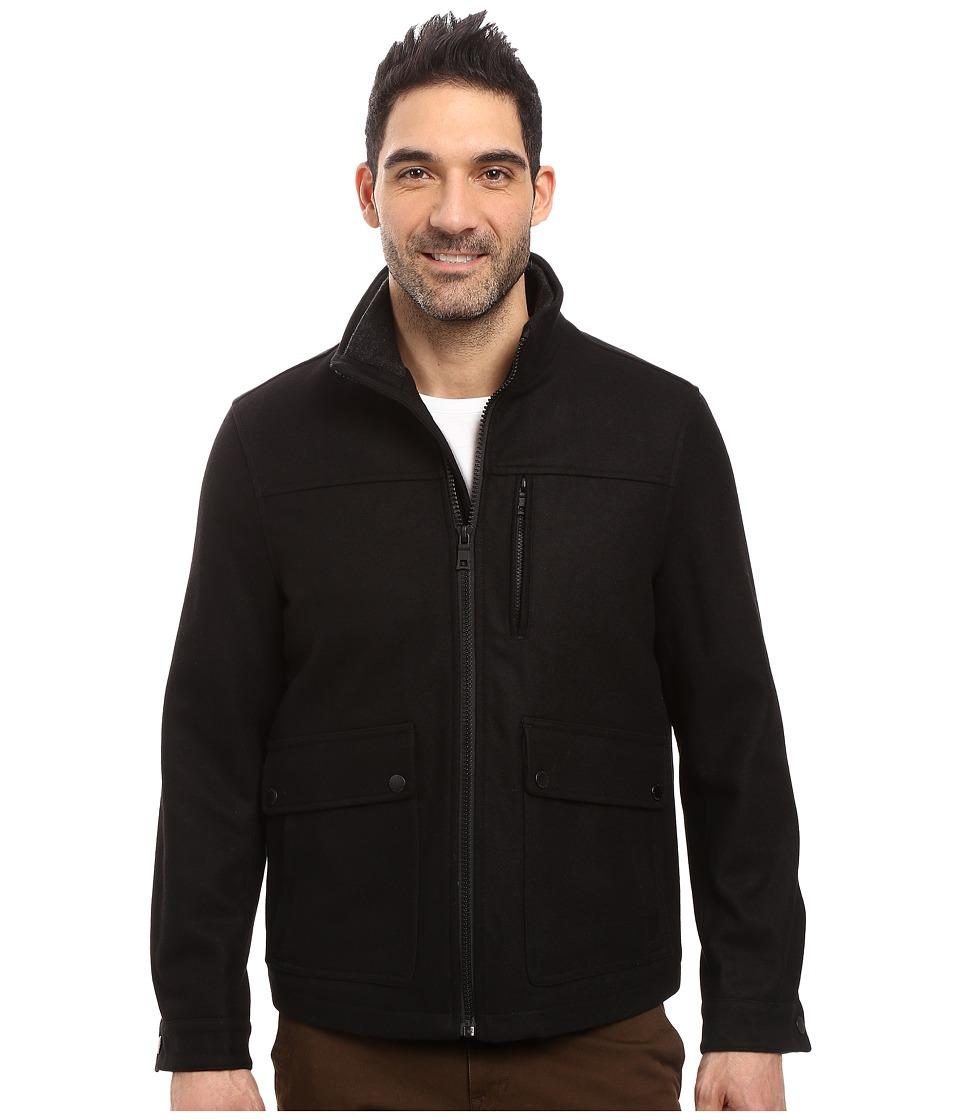 Nautica - Wool Melton Zip Front Jacket (Black) Men's Coat