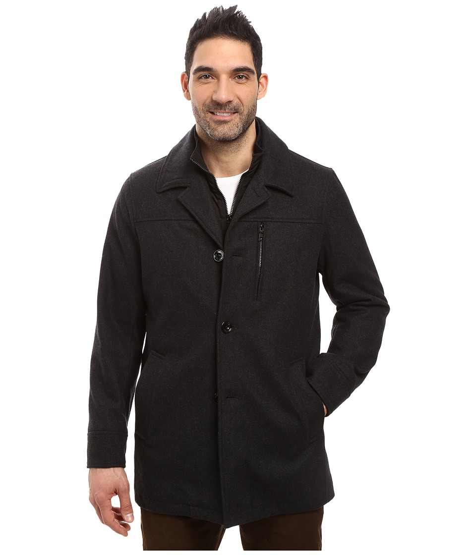 Nautica - Wool Melton Button Front Coat (Charcoal) Men's Coat