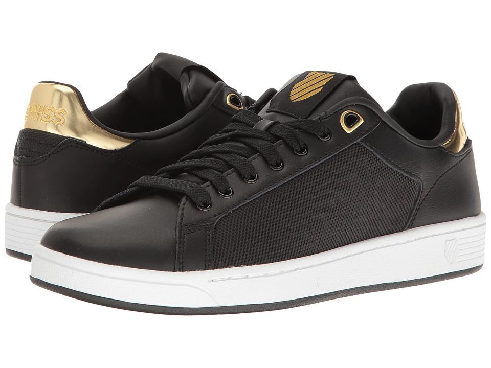 K-Swiss - Clean Court CMF (Black/White/Gold) Women's Tennis Shoes