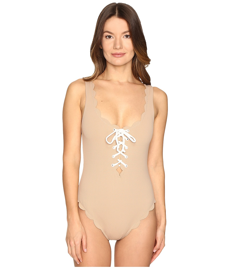 Marysia - Palm Springs Tie Maillot One-Piece (Tan/White) Women's Swimsuits One Piece