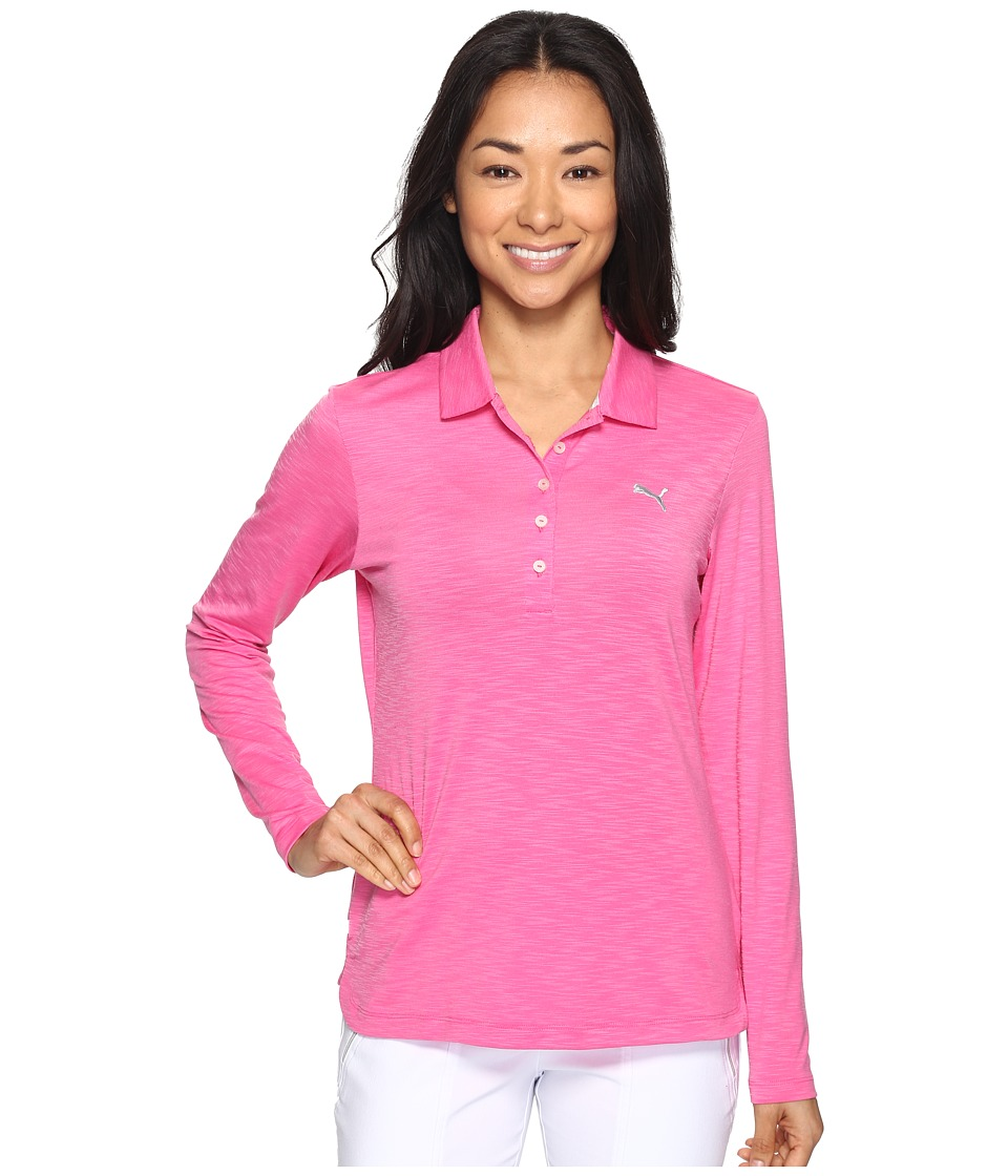 PUMA Golf - Long Sleeve Polo (Shocking Pink) Women's Long Sleeve Pullover