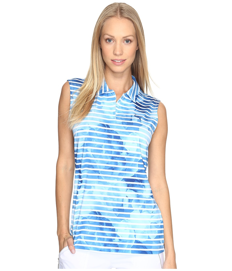 PUMA Golf - Bloom Stripe Sleeveless Polo (True Blue) Women's Short Sleeve Knit