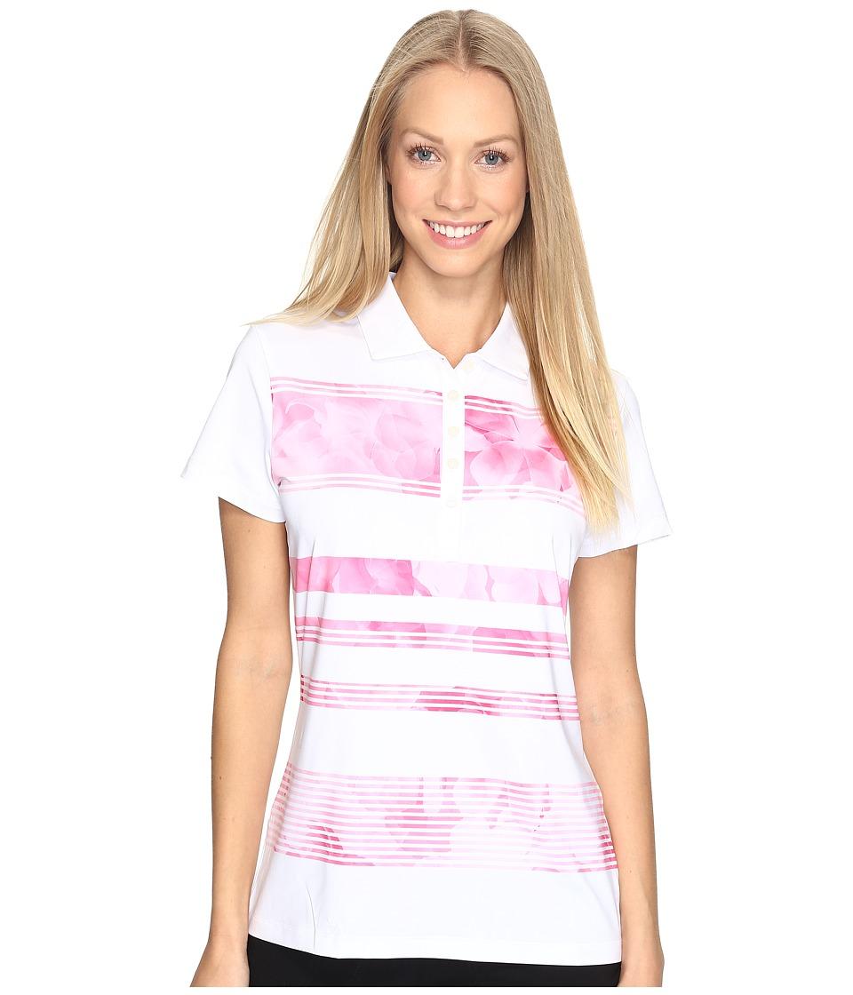 PUMA Golf - Bloom Stripe Polo (Shocking Pink) Women's Short Sleeve Knit