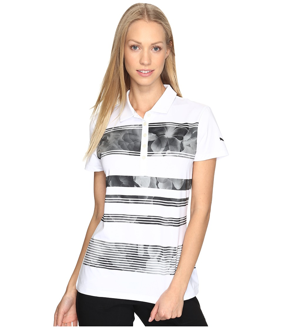 PUMA Golf - Bloom Stripe Polo (PUMA Black) Women's Short Sleeve Knit